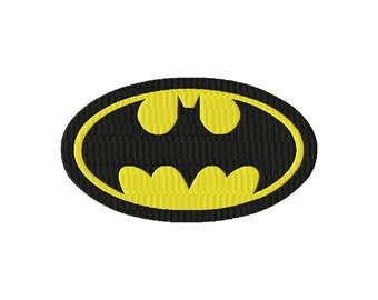 INSTANT DOWNLOAD Super Hero Batman Logo Machine Embroidery Design Includes Both Applique and Filled Stitch