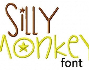 INSTANT DOWNLOAD Silly Monkey Machine Embroidery Font Set Includes 3 Sizes