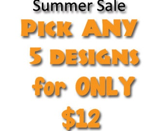 Pick ANY 5 of our huge selection of awesome machine embroidery designs for only 12 dollars
