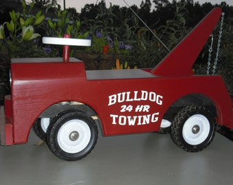 Wooden Toy Truck, Child's wooden riding toy - Tow Truck, add logo or graphics