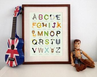 AtoZ 'The little Font Farm' alphabet print GREEN Background