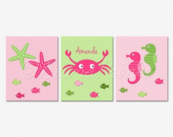 Pink and Green Nautical Nursery Art Print Set - 8x10 - Baby Girl Room Decor, Crab, Seahorse, Starfish, Personalized - UNFRAMED