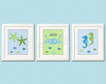 Blue and green Nautical Nursery Art Print Set - 8x10 - Baby Boy Room Decor, Crab, Seahorse, Starfish, Personalized - UNFRAMED