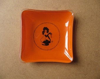 FRIDAY SALE Vintage Playboy Bunny Club London LeRoy Neiman Femlin 1970s Glass Ashtray