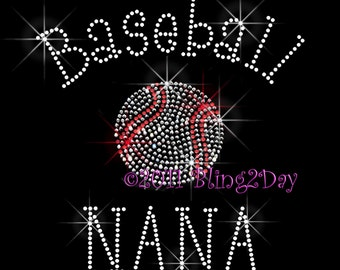 Baseball NANA - C - Iron on Rhinestone Transfer Bling Hot Fix Sports - DIY