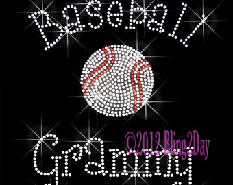 Baseball Grammy - C - Iron on Rhinestone Transfer Bling Hot Fix Sports - DIY