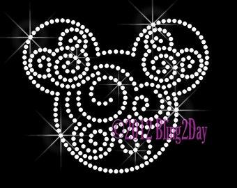 Mickey Swirls - Clear - Iron on Rhinestone Transfer Bling Hot Fix Mouse Kid Mom Disney Scroll - DIY
