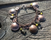 Canadian penny bracelet with lemon jade and copper and bronze accents
