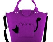 FELT BAG / in hand / in shoulder / Cat behind fence - purple