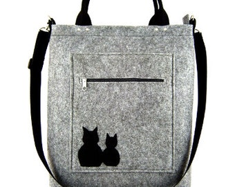 FELT BAG / in hand/ in shoulder / Two cat sitting