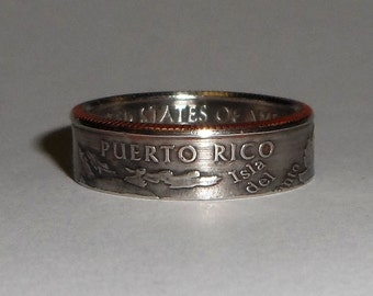 Puerto Rico  quarter  coin ring size  or pendant