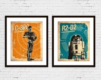 Star Wars C-3PO R2-D2 Vintage Silhouette Poster Print Set of 2