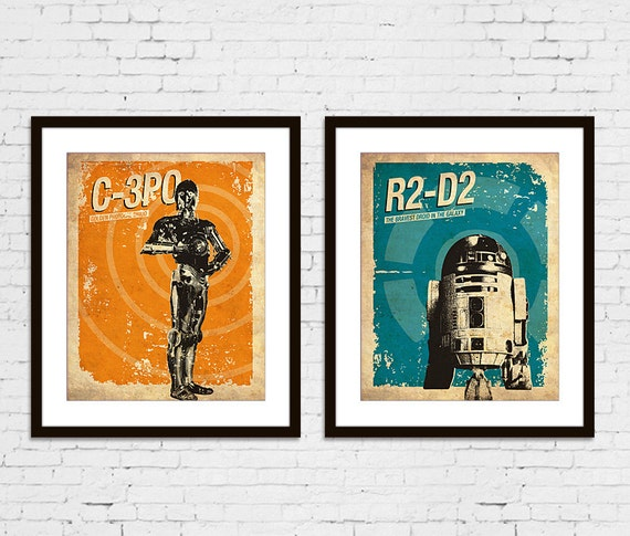 Star Wars C-3PO R2-D2 Vintage Silhouette Poster Print Set of 2