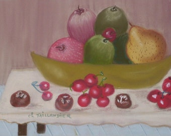 Bowl of fruits Still Life pastel painting wall decoration