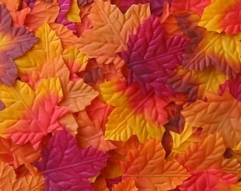 1000 Multi-Colored Fall Autumn Silk Leaves, wedding decorations, petals for wedding aisle runners, flower girl toss