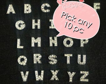 Choose Any 10  Silver Rhinestone slide Letters  A-Z Alphabet English Letters or pick your own letter Charms fits 8mm wristbands / strips /