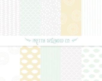 Mint & Grey Seamless Patterns - Digital Scrapbook Paper Pack - Instant Download