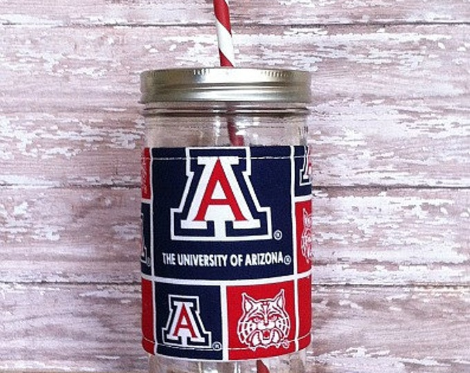 Mason Jar Tumbler 24oz University of Arizona Insulated Cozy BPA Free Swirl Straw - Travel Mug Great Gift