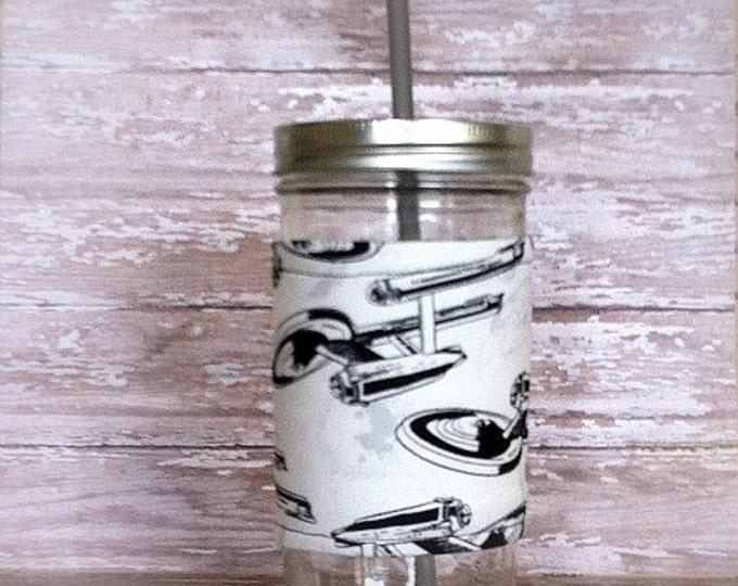 Mason Jar Tumbler 24oz Star Trek Cozy BPA Free Straw - Travel Mug Great Gift