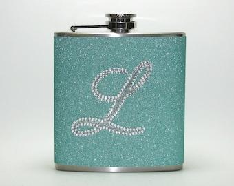 Sea Foam Green Personalized Rhinestone Sparkly Glitter 4, 6 or 8 oz Size Liquor Hip Flask Flasks Weddings Bridesmaids Gift Idea