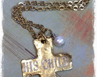 NE4...His Child Cross Necklace/FP Charm