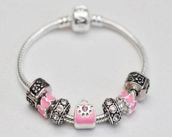 Girls Pink Purse Charm Bracelet
