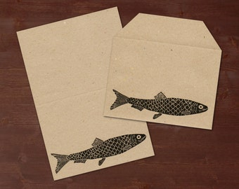 Herring - handprinted stationery // recycling paper