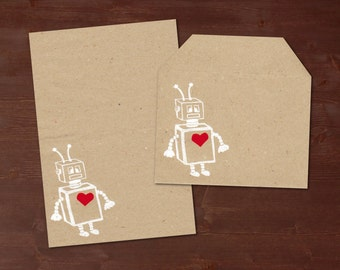 A robot with a heart - handprinted stationery // recycling paper