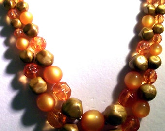 """Brighten up any outfit with this beautiful, luminous two strand 1950's necklace marked """"STAR"""""""