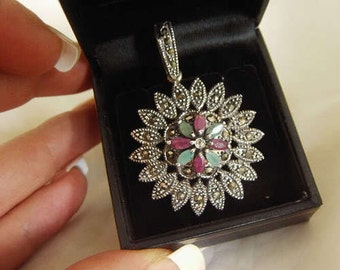925 Silver Marcasite Jade Ruby Jewel Pendant