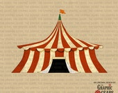 Circus Tent Clip Art - Vintage Tent the Big Top Clip Art (personal or commercial use) - INSTANT DOWNLOAD