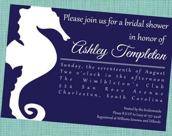 Navy Seahorse Invitation - Bridal Shower - Invitation