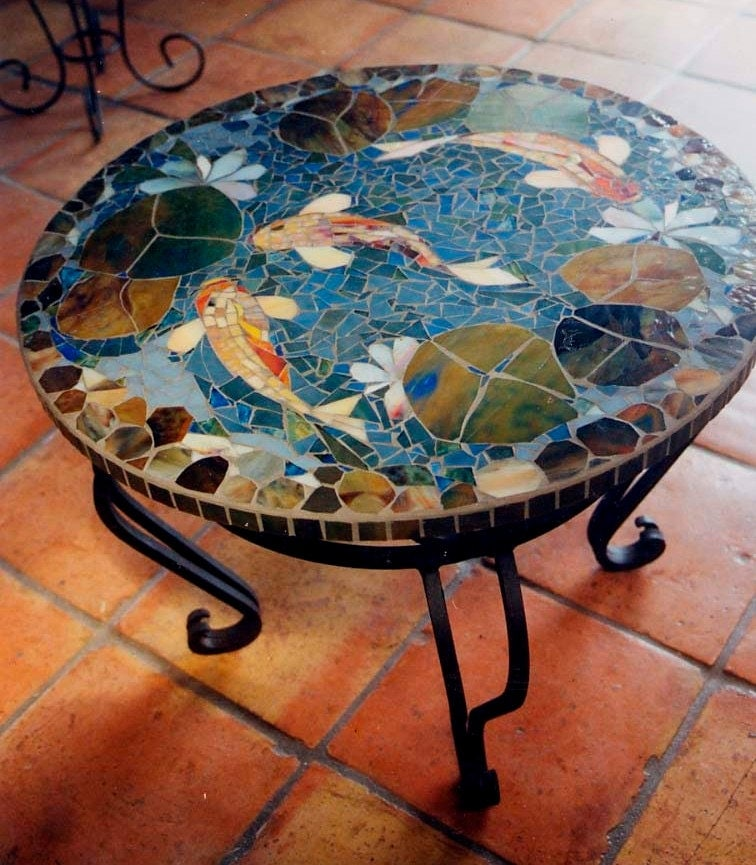 Mosaic koi table custom order tabletop 30 end table for Garden table fish pond