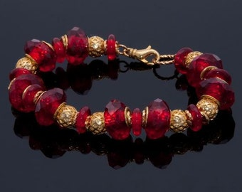 Bracelet, Red and Gold