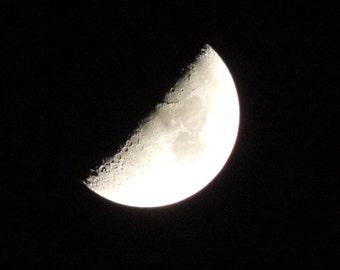 Moon Half Full on a Clear Night Digital Photo