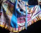 gypsy boho  festival skirt, Lucky travelling line long skirt blue, yellow, pink with ribbons and beads