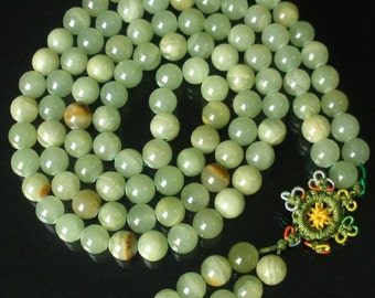 Tibet Light Green Stone 10mm 108 Beads Beaded Buddhism Buddha Prayer Mala Necklace
