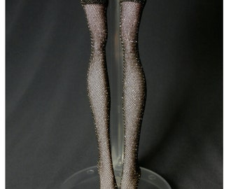 Dolls stockings for Monster high doll  Black and Shiny gold   MH015