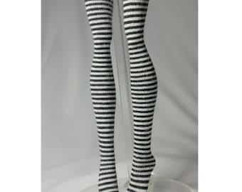 Dolls stockings for Monster high doll  Black and white stripes  MH020