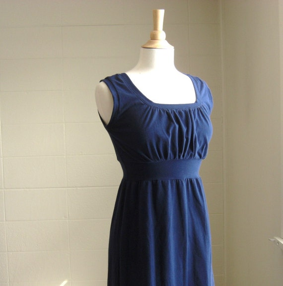 Navy Blue Dress, Womens Tank Dress, Cotton knit sundress, Empire waist Gathered Front scoop neck tank dress sleeveless dress - Made to Order