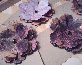 Romantic Flower - Set of 5 3D Tags - Purple, Peach and Tan