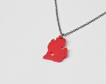 Michigan State Necklace - Red - Michigan Necklace Michigan Heart Mitten State Charm Michigan Necklace With Heart State Love Jewelry