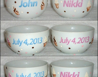 His and Hers Personalized Ceramic Ice Cream Bowl Set