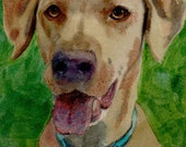 ACEO ATC Dog Animals Retriever Lab Puppy Watercolor Print DelPesco