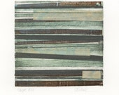 Stripes 10 -  brown, gray, green, gold striped Collagraph hand-pulled print - 5 x 5.25 inches OOAK