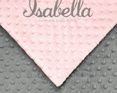 Gray and Pink Baby Girl Blanket , Personalized Baby Blanket ,  You Design