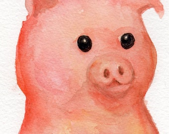 Pig Watercolor Painting Original,  Pig Art, Pig painting, Pig decor, whimsical pig,  pig portrait,