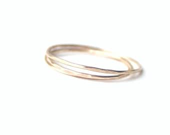 Set of Three Gold Skinny Rings
