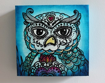 Day of the Dead Owl Screen Print and Painting on Canvas- 9 x 9 x 2 inch