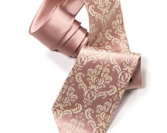 "Buff pink damask men's necktie. Ivory-cream print on ""peach."" Silkscreened men's tie. Microfiber. Perfect for weddings."